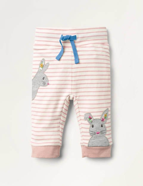 Appliqué Jersey Bottoms Pink Baby Boden, Ivory