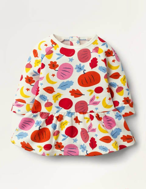 Cosy Printed Sweatshirt Dress Orange Baby Boden, Orange